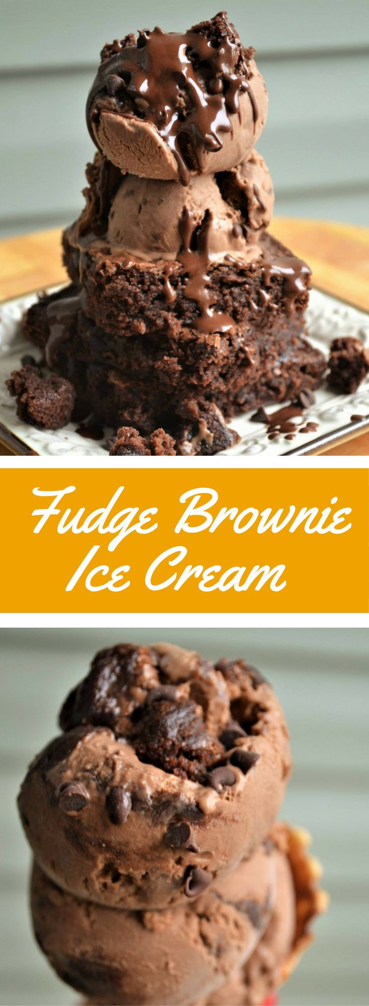 Rich homemade chocolate ice cream recipe with chunks of gooey fudge brownies and chocolate chips! (cooked brownie frosting)