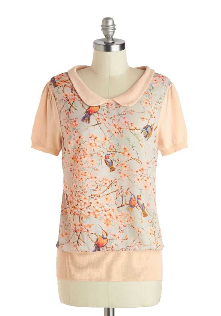 Happily Feather After Top | Mod Retro Vintage Short Sleeve Shirts | ModCloth.com