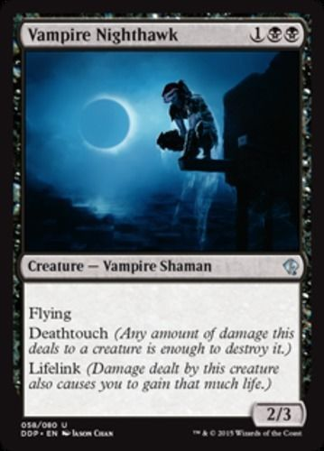 Vampire Nighthawk mtg Magic the Gathering Duel Decks: Zendikar vs. Eldrazi black uncommon flying deathtouch lifelink creature card