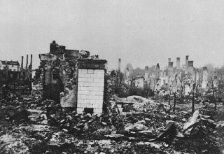 A Polish town lies in ruins following the German invasion of Poland, which began on September 1, 1939.
