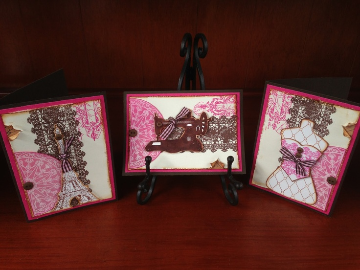 Elegant Arch Cards using buttons, ribbon, collage stamping, blending and paint dabbers.