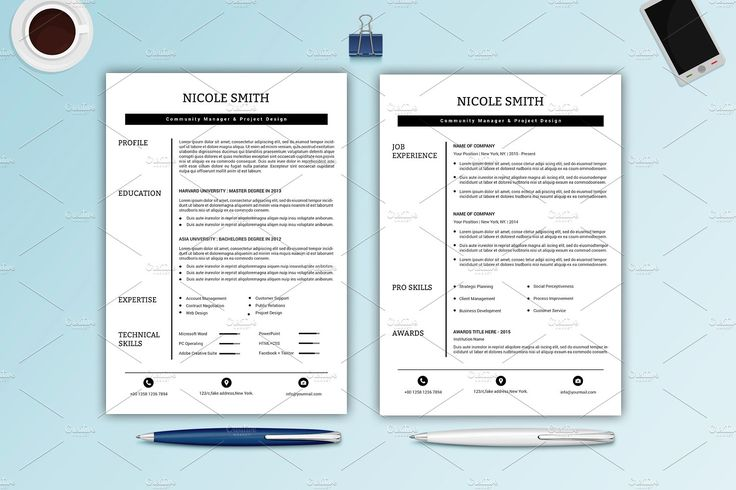 Professional Resume / CV -V023 by Template Shop on @creativemarket