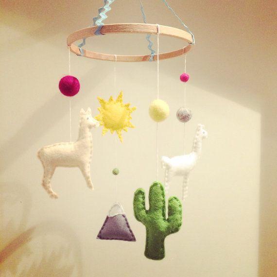 Llama Cactus South American Felt Baby Nursery/Crib Mobile