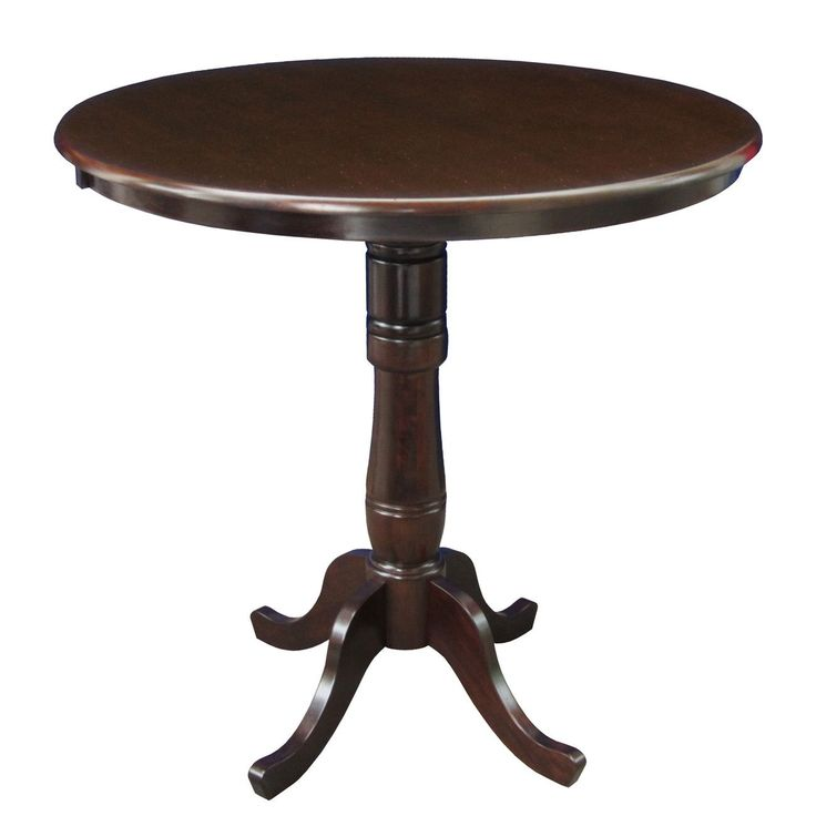 Bring Classic Elegance To Your Living Room With International Concepts  Solid Wood Round High Pedestal Table In Espresso.