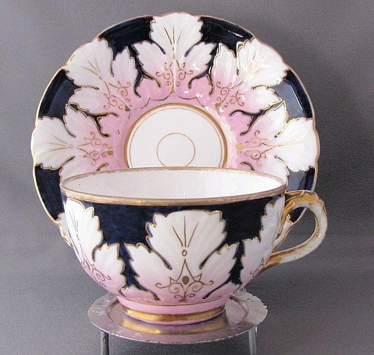 Antique English Porcelain Cup & Saucer, Molded Leaves, Cobalt Blue & Pink, 1800s