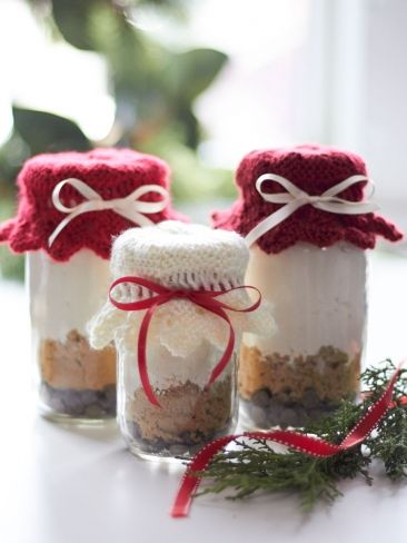 Free knitting pattern for Gift Jar Toppers  Yarnspirations and more gift wrap knitting patterns