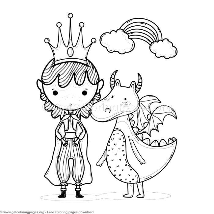 Magic World Rainbow Princess And Dragon Coloring Pages