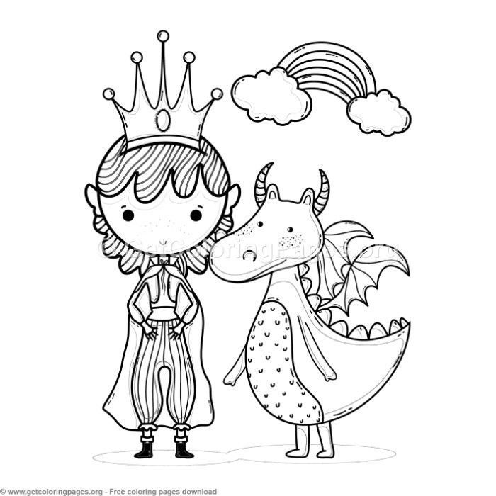 Magic World Rainbow Princess And Dragon Coloring Pages