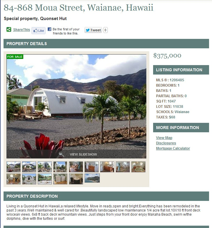 Hawaii, Living in a Quonset Hut:  Internet Site,  Website, Web Site
