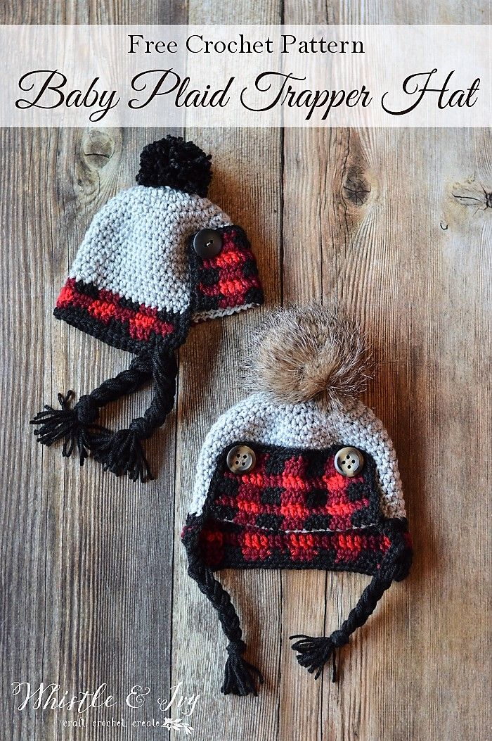 Crochet Baby Plaid Trapper Hat