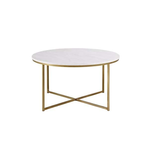 Silver Orchid Helbling 36 Inch Round Coffee Table Gold White