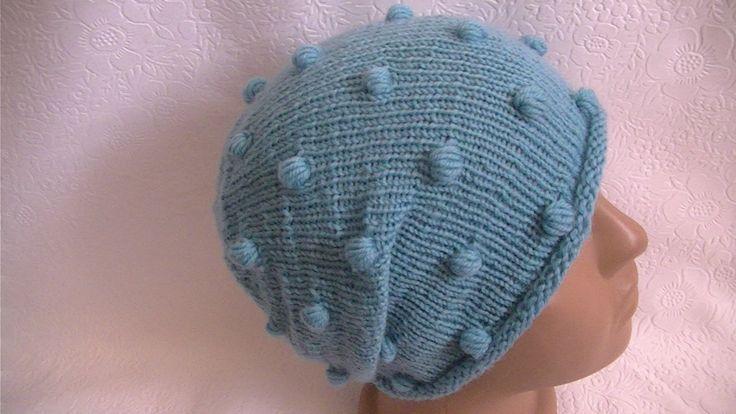 Вязание шапки с с шишечками.