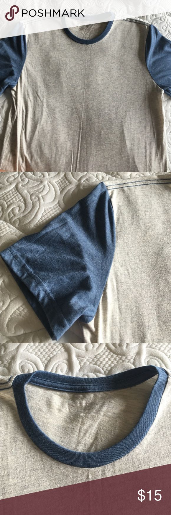 Public Opinion by Nordstrom Baseball Tee Short sleeve tee in contrasting tones. Body is off-white with grey heather accents and sleeves and neckline are blue. Cotton/polyester blend. Make an offer, price is negotiable! Nordstrom Shirts Tees - Short Sleeve
