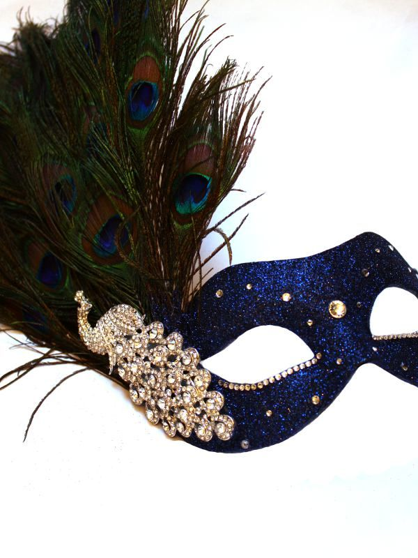 Luxury Blue & Silver Peacock Feather Venetian Mask