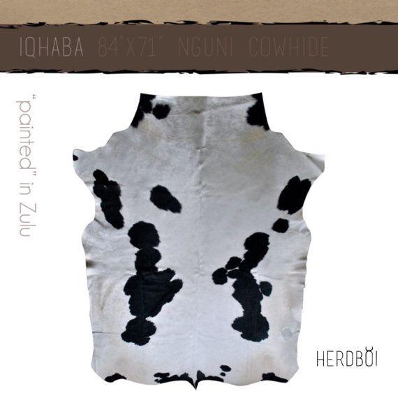 Cowhide Rug Extra-large black and white Nguni cow hide by Herdboi