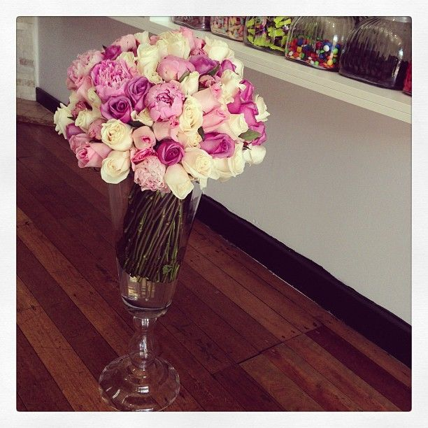 Pastel Bouquet & Vase.. Pastel Pink White Peony Rose Pink Cream Purple Colombian Rose