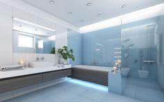 Modern blue bathroom./Moderná modrá kúpeľňa.