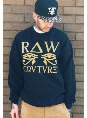 Raw Couture Unisex Gold Egyptian Print Sweater. Buy @ http://thehubmarketplace.com/Unisex-Gold-Egyptian-print-Raw-Couture-Sweater