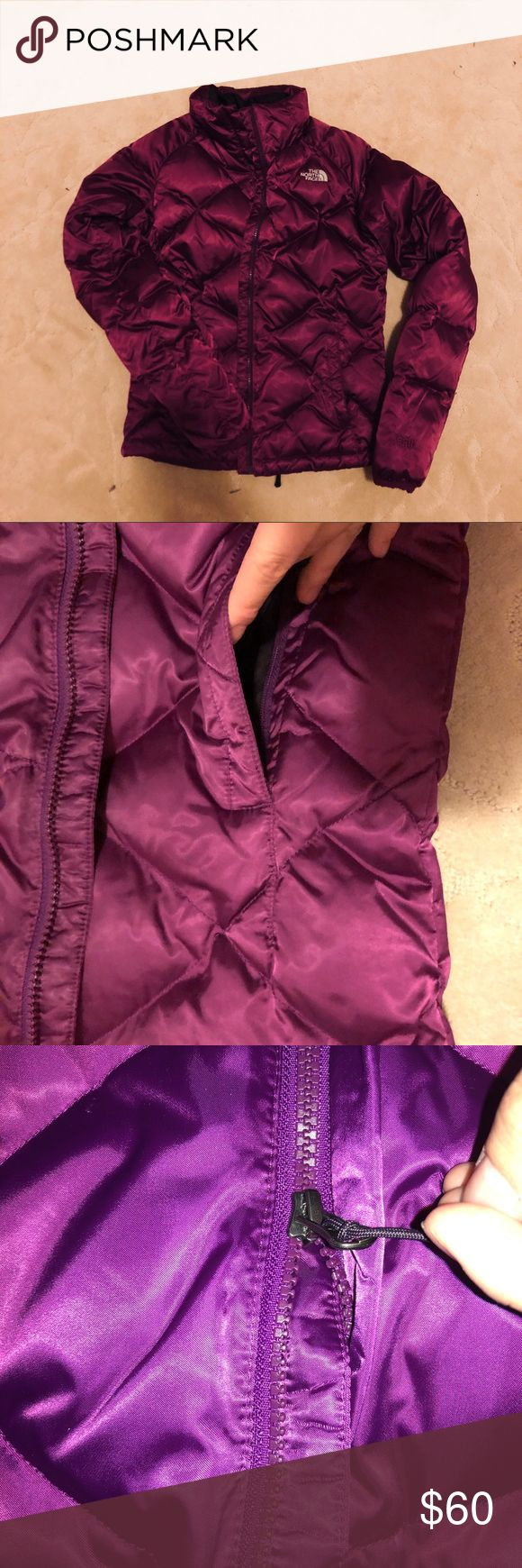 Purple North Face Puffy Jacket Super cute north face jacket!! in great condition and perfect for cold months! i live in the Windy City, so it's safe to say i know this thing will keep you warm anywhere! It has an easy zipper, a good, and some pockets! The North Face Jackets & Coats Puffers