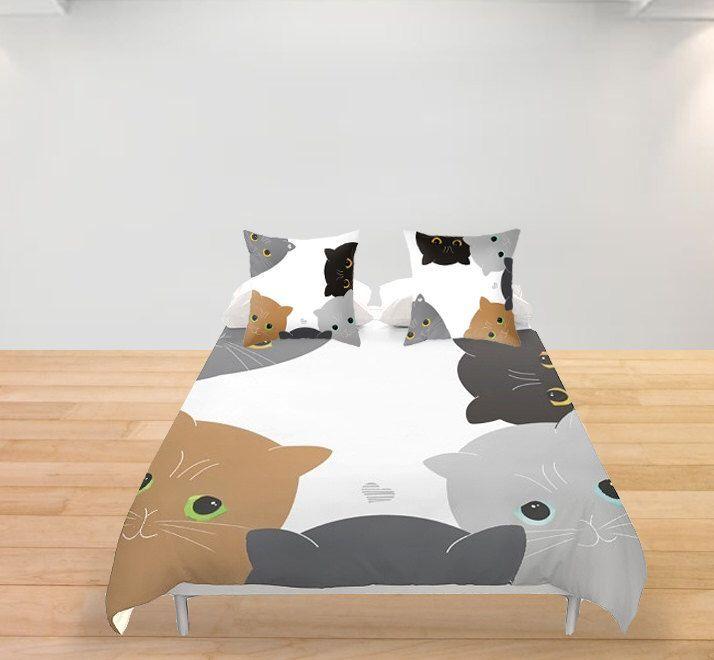Cat Duvet Cover Black and White Pet Cat Bedding Queen King Full Double Witch Home Decor Kitten Duvet Animal Lover Bedroom Decor by Narais on Etsy https://www.etsy.com/listing/237681138/cat-duvet-cover-black-and-white-pet-cat