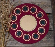 Primitive Cranberry Wool Felt Penny Rug ~ Stacked Circles Buttermilk Candle Mat
