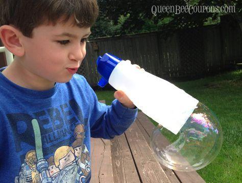 Homemade bubble blower reusing coffee creamer bottle