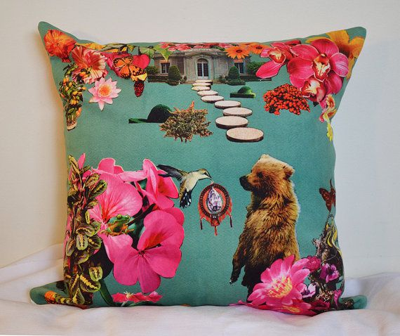 'the gift of dream' velveteen pillow - collage art by livingferal