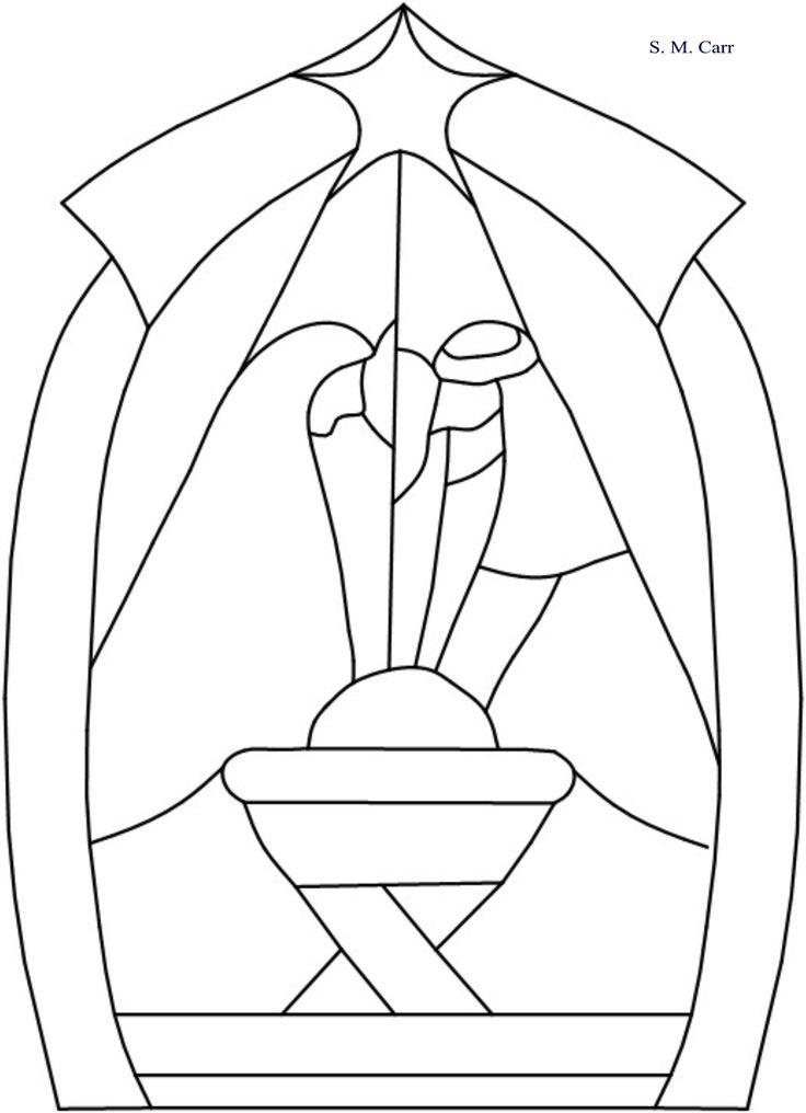 Nativity -- original pattern Stain glass/tissue paper window for church