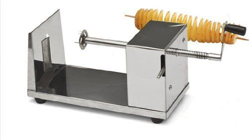 "Manual Stainless Steel Twisted Potato Slicer Spiral Vegetable Cutter French Fry by Sky Enterprise USA. $67.50. Stainless steel construction. Overall dimensions: 10.25""(L) x 4.5""(W). Low maintenance. Non-slip rubber feet; Simple operation. Make curly fires, twisted potato chips and veggie snacks with this stainless steel constructed potato slicer. It features a tornado or spiral shaped cutter that is great for home use or at a restaurant. This potato chips spiral cutter..."