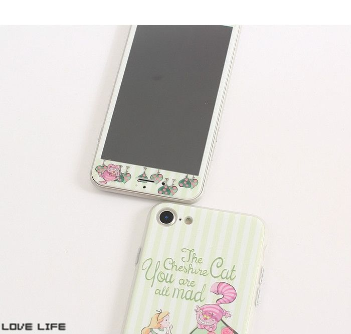 不思議の国のアリスiphone8携帯カバー液晶保護フィルム付きセット8plusガラスフィルム7plusジャケット全方面守る6splusケースふしぎの国のアリス