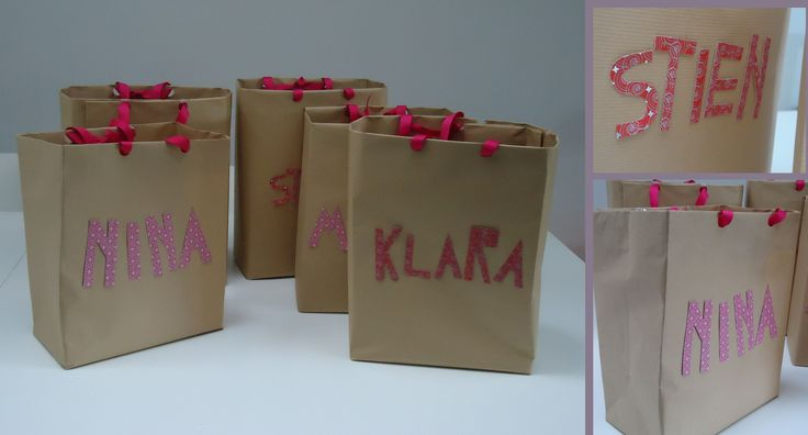 DIY goodie bags met naam op,papieren zakjes,namen geknipt uit patroon papier