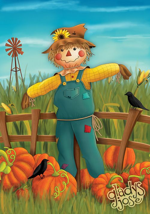 What a cute scarecrow illustration.