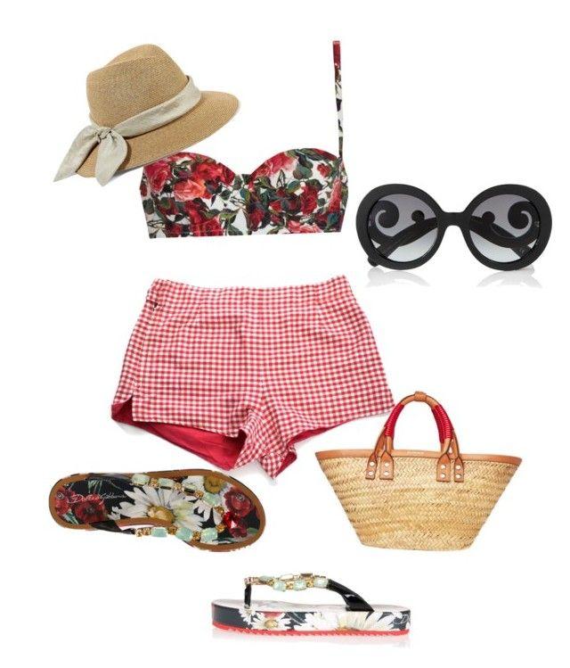 """Summer Romance"" by beebeechic on Polyvore featuring Jantzen, Dolce&Gabbana, Balenciaga, Prada and Eugenia Kim"