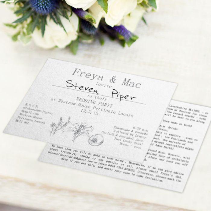 mini book wedding invitations uk%0A Local Artist drawn design for a Scottish wedding invitation  Created by  www invitedto