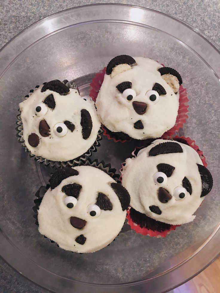 I (tried) to make panda cupcakes for my friend's birthday (there were a lot more than this) #baking #cooking #food #recipes #cake #desserts #win #cookies #recipe #cakes #cupcakes