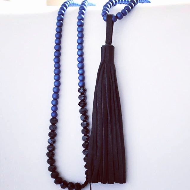 Blue & black leather necklace!!!
