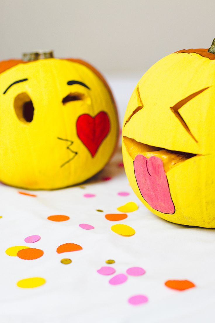 Put a new smile on that pumpkins face this Halloween-DIY Pumpkin Emojis for Halloween Decor