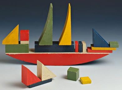 Alma Buscher Siedhoff, Ship Building Toy, 1926 (original vintage not Naef reproduction)