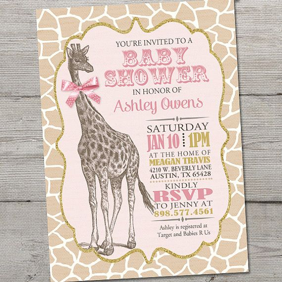 Vintage Giraffe Baby Shower Invitation PRINTABLE By Partymonkey