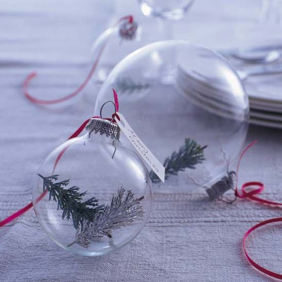 Pull a few sprigs off your tree and fill a clear ornament. Attach a ribbon and these are ready to hang or fill a bowl or basket with them.