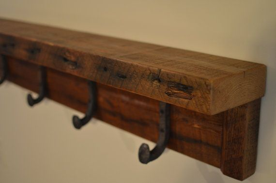 Rustic Reclaimed Lumber Coat Rack With Authentic Railroad