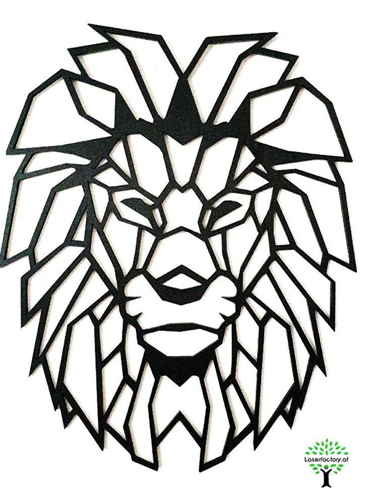 löwe wandbild aus holz  wanddeko  geometrischer löwe
