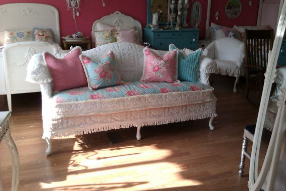 shabby chic sofa couch chenille bedspread by VintageChicFurniture