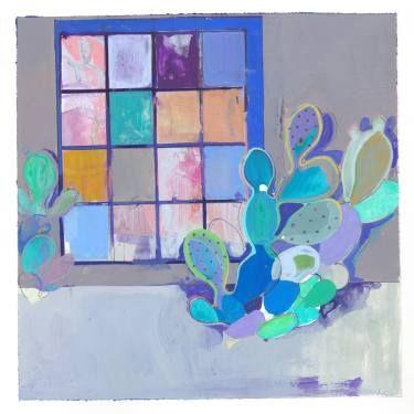 """Saatchi Art Artist Charlotte Evans; Painting, """"rainbow cactus (framed)"""" #art"""