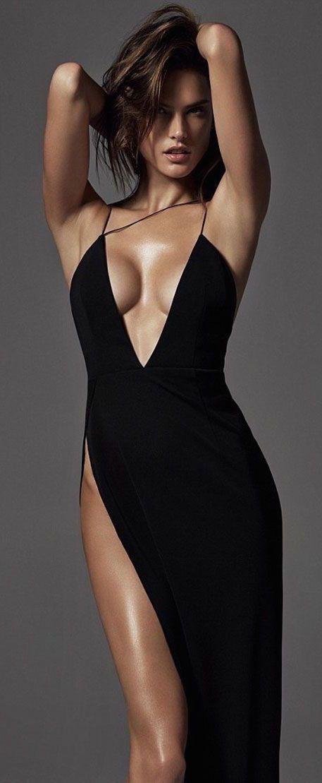 #street #fashion Alessandra Ambrosio for Harper's Bazaar / black dress @wachabuy