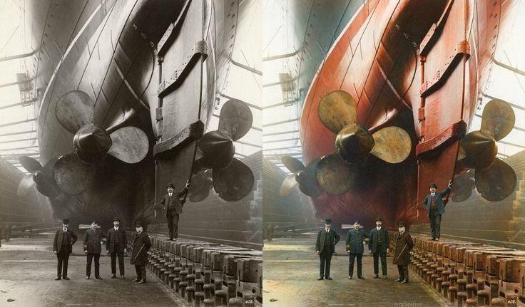 "This photograph is taken in Canada Dock in Liverpool, 1909. The gentleman in uniform is ""Mauretania's"" first Chief Engineer, John Currie."
