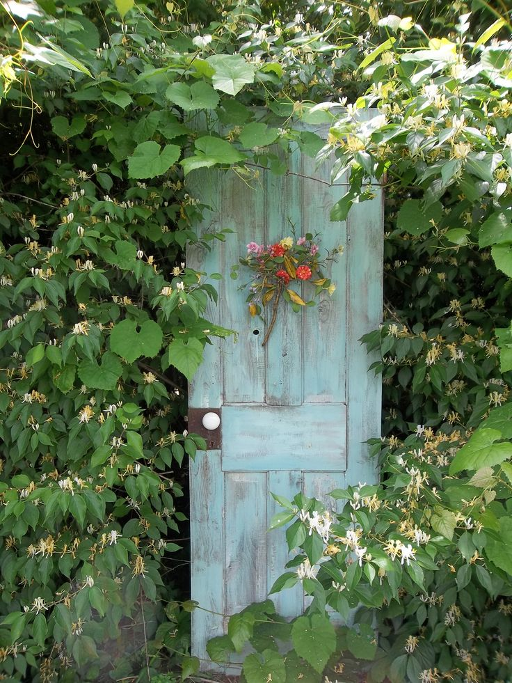 An 'immitation' secret garden...an old door hidden in the bushes painted a robin egg blue.