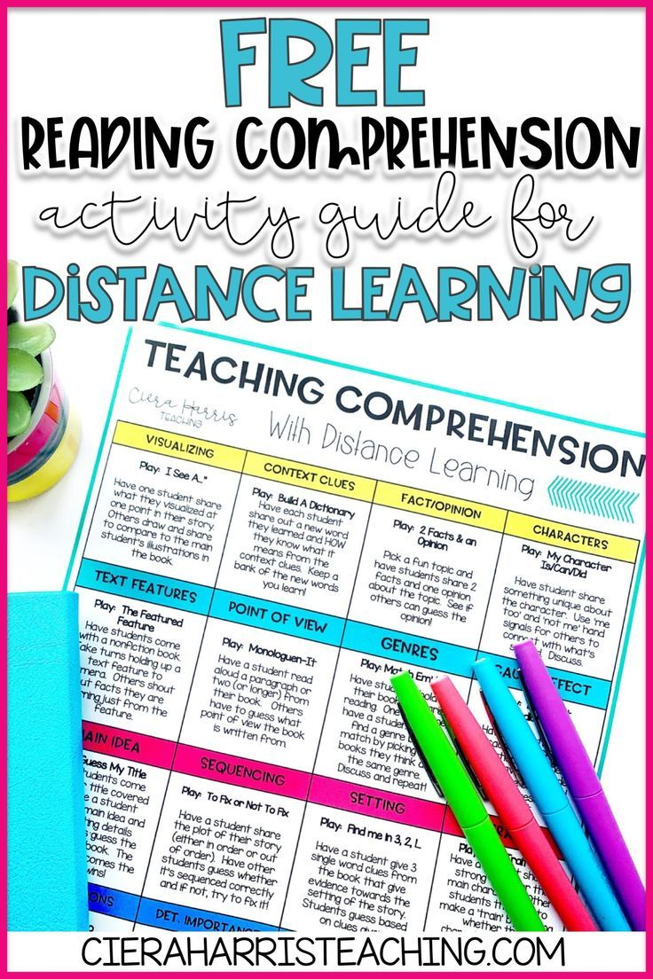 Free Distance Learning Reading Comprehension Activity Guide Teaching Comprehension Comprehension Activities Teaching Reading Comprehension Fun reading activities for online