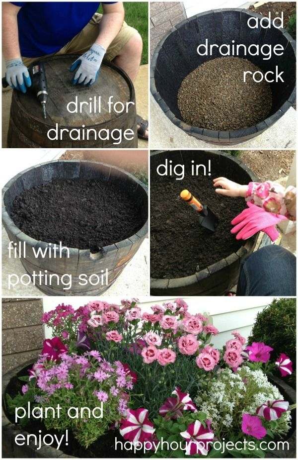 Tutorial for the One-Hour Whiskey Barrel Planter at happyhourprojects.com #DigIn #ad