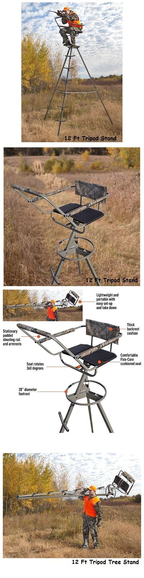 Tree Stands 52508: Tree Stand 12 Portable Tripod Deer Big Game Treestand Hog Rifle Turkey Hunting BUY IT NOW ONLY: $149.95